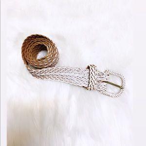 Accessories - White & Brown Braided Belt